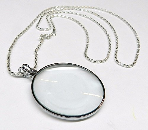 "Price comparison product image 5X Necklace Magnifier 1-3 / 4"" Glass Lens 36"" Silver Chain MONOCLE SPECTACLE"