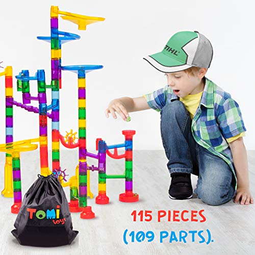 Tomi Toys Marble Run Super Set - 109 Pieces (84 Action Pieces + 25 Glass Marbles) - Marble Maze Race Track Game for Kids 4, 5, 6 Years Old and Up Marble Run Sets for Educational Learning - STEM Buil -