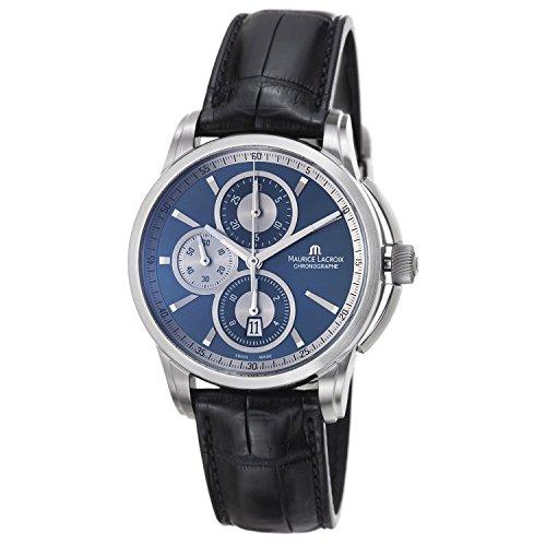 Maurice Lacroix Pt6188-Ss001-430 Men's Pontos Auto Chrono Black Genuine Crocodile Dark Blue Dial Ss Watch