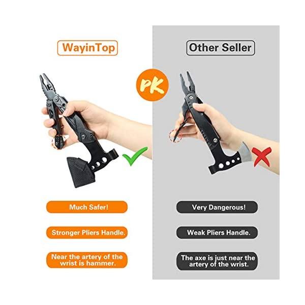 51ahcfM0LfL WayinTop Werkzeug Geschenke für Männer, Taschenwerkzeug Multi-Tool Hammer Axt mit Zange Klappmesser Schraubendrehe…