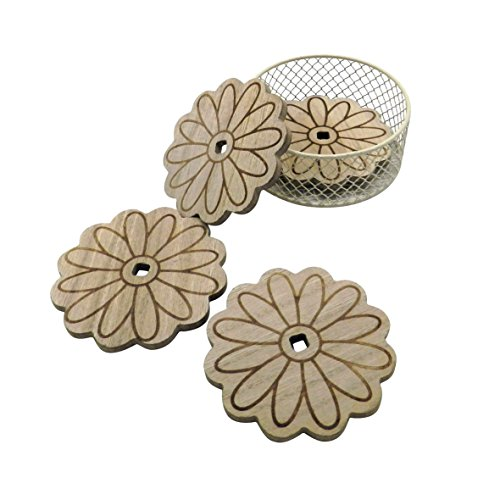 CVHOMEDECO. Daisy Shape Wooden Coaster Set with Wire Basket Holder, Handmade Dinner Coaster Table Drink Coasters, Home/Office Décor, Great, 4