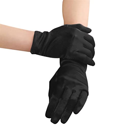 Sexy Black Soft Satin Short Gloves Halloween Evening Prom Fancy Dress Party  Costume Ball Gloves Accessories 435c18cc3