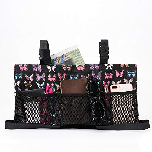 Universal Walker Bag, Rollator Tote Organizer Pouches, Wheelchair Scooter Side Bag Storage Cases with Butterfly Print (HZC139-D)