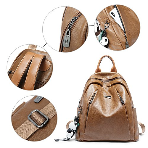 Backpack Purse for Women PU Leather Large Waterproof Travel Bag Fashion Ladies School Shoulder Bag brown by Cluci (Image #4)