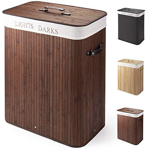 Virklyee Wäschekorb aus Bambus 100L Faltbare Wäschekorb Groß mit 2 Fächern Herausnehmbaren Wäschesortierer Wäschetruhe…