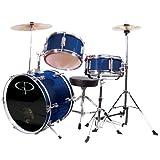 GP Percussion GP50BL Complete Junior Drum Set, Blue, 3-Piece Set
