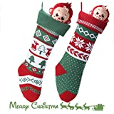 "Knit Christmas Stockings for Family 22"" x 7"" Sets of 2 – Red/White/Green Snowflake knitted Hanging Bags - Holiday Gift - Decor,Decorations Christmas Tree,Mantel"
