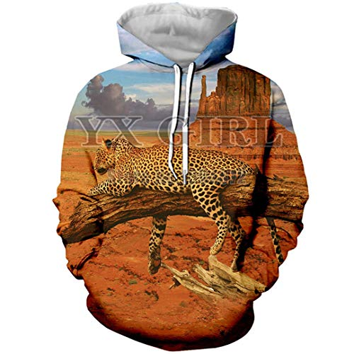 Natural Animal Leopard 3D Print Cheetah Hoodie for