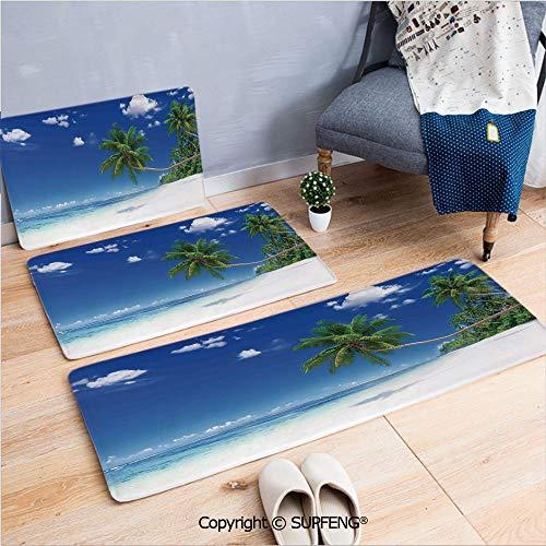 Bath Rug Ocean,Photo of a Paradise Beach in Tropics Exotic Hot Summer Day with Sky Landscape,Blue White Green Non-Slip - Tropic Rug Stripes Multi Ocean