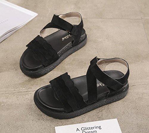Cómodas Velcro Verano Zapatos DANDANJIE de tamaño Verde 34 de Sandalias Gran Velcro Beige de Zapatillas Negro cómodas Zapatos caseros 43 Retro Chicas Negro Mujer Suela qtxzYBt