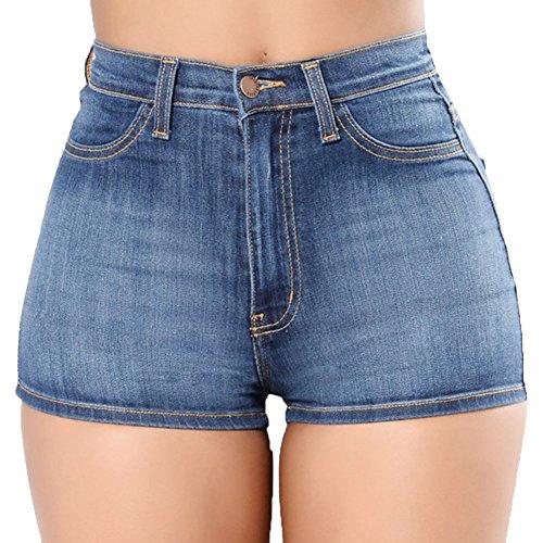 De Cintura Fit Para Mezclilla Slim Claro Shorts Azul Mujeres Pantalones Alta Corto Skinny qzftY