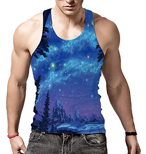 Big Boys Vintage Creative Tank Tops Forest Aurora Breathable Mesh America Undershirt for Campus School Gym Class(Blue Starry,L)