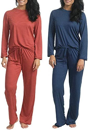 2 Pack: Women's Pajama Set Super-Soft Short & Long Sleeve Top with Pants