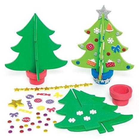 Crea Foto Di Natale.Kit Alberi Di Natale 3d In Gommapiuma Per Bambini Da Creare E Decorare Confezione Da 4