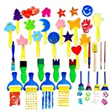 Early Learning Sponge Painting Brushes and Tools 30 PCS Arts Crafts Brushes Set Flower Drawing Doodle Toys for Kids