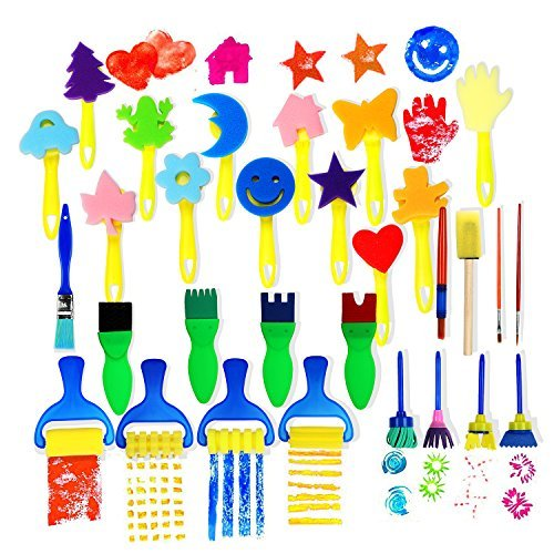 Early Learning Sponge Painting Brushes and Tools 30 PCS Arts Crafts Brushes Set Flower Drawing Doodle Toys for Kids by disytoy