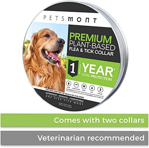Petsmont Flea Collar for Dogs, Tick Collar for Dogs, Flea and Tick Collar for Dogs, Dog Flea Collar, Unique Plant Based Formula, Small to Extra Large, 1 Year Protection, Stone Gray Color