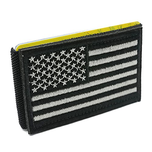 iCraft-Slim Front Pocket USA Flag Tactical Patch Wallet-Black and White