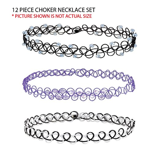 24 Pieces Tattoo Choker Necklace,Rainbow Flowers Stretch Gothic Double Line Set