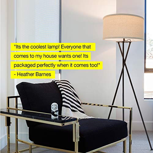 Brightech Jaxon Tripod LED Floor Lamp – Mid Century Modern, Living Room Standing Light – Tall, Contemporary Drum Shade Lamp for Bedroom or Office – Black by Brightech (Image #4)