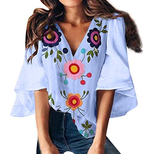 KESEELY Women's 3/4 Bell Sleeve Shirt Mesh Panel Blouse Flower Print V Neck Casual Loose Tops Blue -