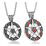 Stainless Steel Powerful Pentacle Necklaces Pentagram, Wicca Traditional Seal of Solomon Pendant, 23.5 Inch Curb Chain (Green Red (2pcs))