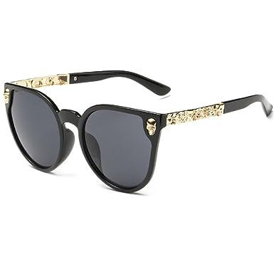 440647fc5f Dollger Skull Design Cat Eye Sunglasses UV400 Protection (Black Lens+Gold  Frame)  Amazon.co.uk  Clothing
