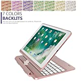 2018 9.7'' New iPad Keyboard Bluetooth Case,MeiLiio 7 Colors LED Backlit Detachable Bluetooth Wireless Keyboard Folio Back Cover Smart Keyboard for 2017/2018 New iPad 9.7-inch Tablet (Rose Gold)