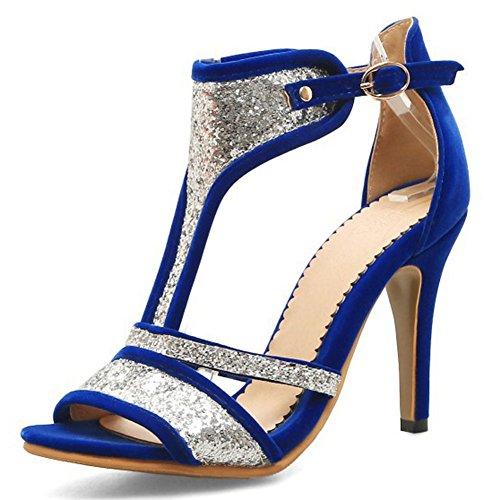 Easemax, Donna, Paillettes, Finto Camoscio, Tacco A Spillo, Punta Aperta Cinturino Alla Caviglia, Cinturino Alla Caviglia, Sandali Eleganti Blu