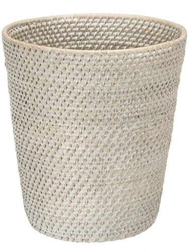 KOUBOO Round Rattan White Wash Waste Basket (Basket White Distressed)