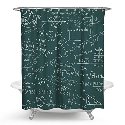QCWN Mathematics Classroom Decor Shower Curtain, School Board Full of Drawings Formulas Math Equations Geometry Axis Math Word Shower Curtain For Bathroom with Hooks.White Green 59x70Inc -