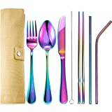 Tatuo 7 Pieces Portable Stainless Steel Flatware Set Travel Cutlery Silverware Set Reusable Utensils with Case, Stainless Steel Knife Fork Spoon Chopsticks Straws (Multicolor)