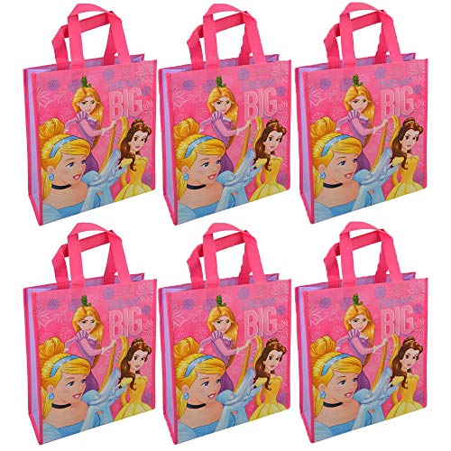 Disney [6-Pack Princess Reusable 12-inch Tote Bags/Party Favor/Gift Bags with Handles