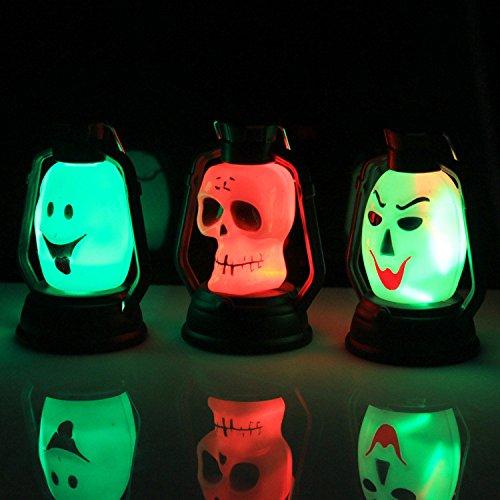 Iuhan Halloween Sneaky Pumpkin Skull Witch Lamp Lerosene Lamp With Shadows Hanging Festival Party Decor (Color&Style Random) (Tombstone Lightup Gargoyle)