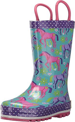 Western Chief Kids Kids Girls' Waterproof Easy-On Printed Rain Boot, Hannah Horse, 10 M US Toddler
