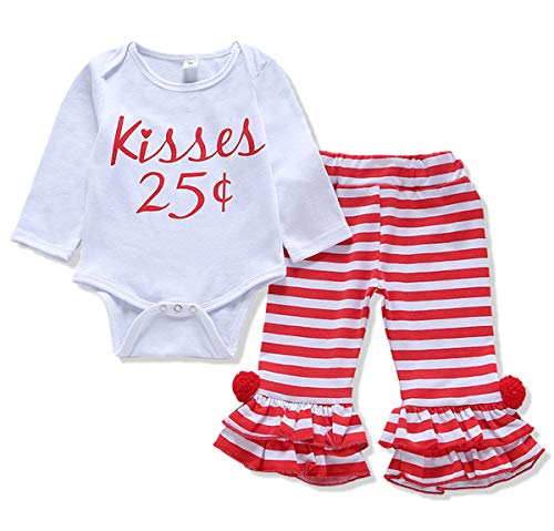 Valentine's Day Outfits Infant Baby Boys Girls Valentine Red Romper Heart Pants Hat 3Pcs Clothes Set (White Stripe, 0-6 Months)