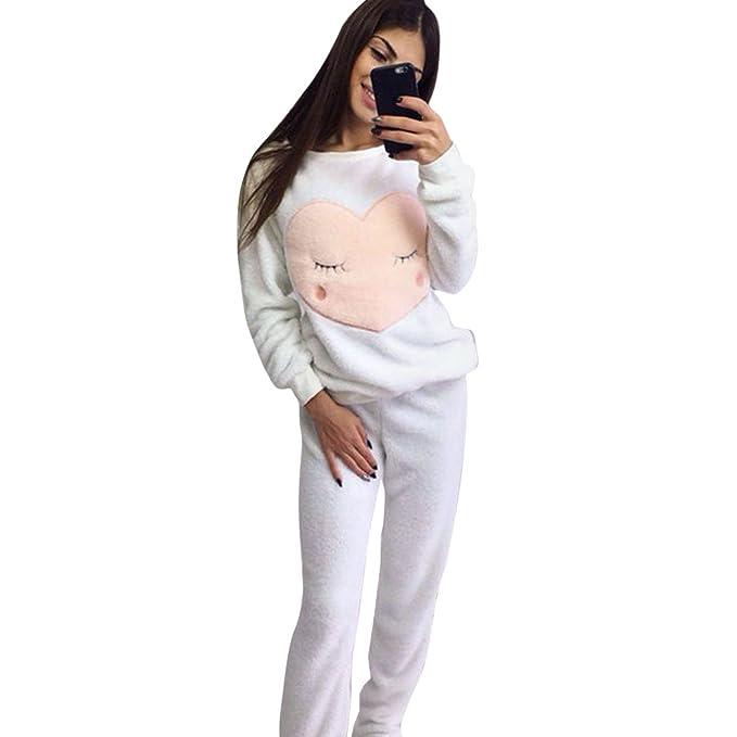 MIOIM Mujeres Pijamas Nightwear Más Cachemira Mantener Caliente Conjunto para Otoño e Invierno (Blanco,