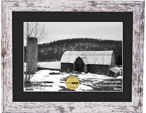 - CreativePF [810-11x14wbn] Eco-Barn Wood Finish Frame with Black Mat to Hold 8x10-inch Media, Includes Easel with Installed Sawtooth Hanger
