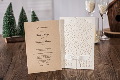 100x Wishmade White Tree Design Wedding invitation card, business invitation card, Party invitation card CW6176 by wishmade (Image #5)