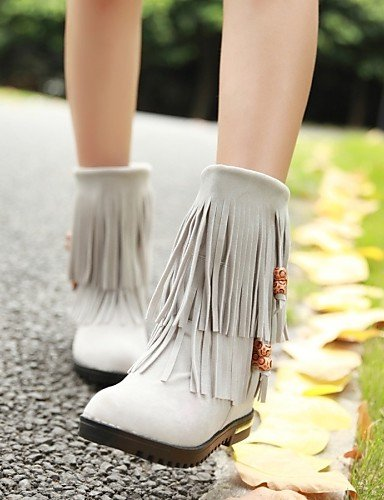 us8 Zapatos Gray us5 Casual A Gris Vestido Eu35 Cn39 Negro De Mujer Uk6 Uk3 Eu39 Rojo La Redonda Vellón Botas Cn34 Cuña Xzz Tacón Moda Gray Punta UdgU7B