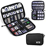 Travel Universal Cable Organizer,BQYPOWER Electronics Accessories Cases for Various USB, Phone, Charger and Cable (Black)