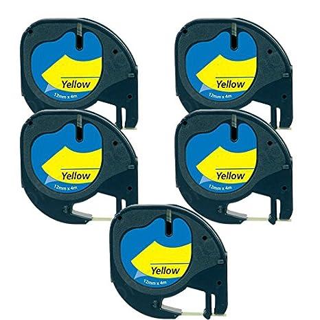 5 Casetes de Cinta compatibles con Dymo LetraTag 91202 S0721620 S0721670 Negro sobre Amarillo 12mm x 4m para DYMO LetraTag LT110T, LT100H, LT100T, QX50, ...