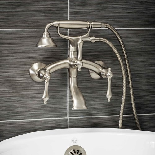 Telephone Tub Faucet - Luxury Clawfoot Tub or Freestanding Tub Filler Faucet, Vintage Design with Telephone Style Hand Shower, Wall Mount Installation, Lever Handles, Brushed Nickel Finish
