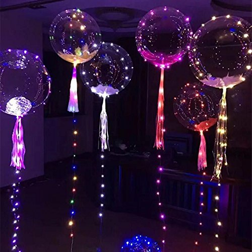 Amy Basic (6 Pcs) 20-inch Clear Foil Helium Bobo Balloons with Copper LED Light Bar for Party Wedding,Party Birthday and Festival Decorative