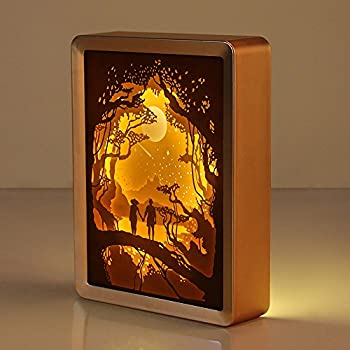 WOMHOPE ABS Frame Papercut Light Boxes Night Lights Paper Sculptures Night Light Lamp of Creative Shadow Paintings (Good Night)