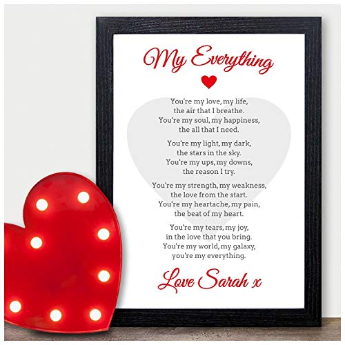 My Everything Personalised Poem Valentines Gift Anniversary Wedding Him Her – PERSONALISED ANY NAMES for Anniversary, Birthday – Black or White Framed A5, A4, A3 Prints or 18mm Wooden Blocks