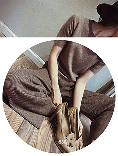 Winter Soft Cashmere Camel Pants Pure Knitted Wide Leg Pants Casual Loose Knitted Pants Women,Dark Brown,M