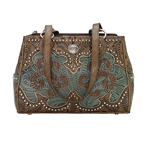 American West Women's Hand Tooled Concealed Carry Multi-Compartment Tote Distressed Brown One - West Tooled American