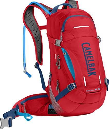 CamelBak M.U.L.E. LR Crux Lumbar Reservoir Hydration Pack, Racing Red/Pitch Blue, 3 L/100 oz