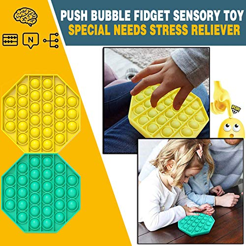 Push pop pop Bbbule Sensory Fidget Toy,2 Pack Silicone Stress Reliever Toy,Autism Special Needs Stress Relief Toy, Squeeze Sensory Fidget Toy Gifts for Kids,Adults,Teens and Anxiety People